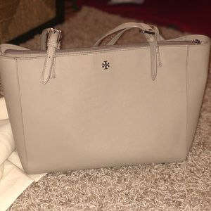 "Tory Burch ""York"" Buckle Tote Bag  French Gray"